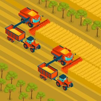 Landwirtschaftlicher isometrischer hintergrund mit mähdrescher und traktor, der ernte in getreidefeldern illustration erntet
