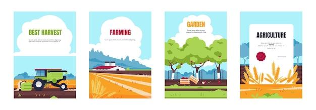 Landwirtschaftliches plakat. cartoon-broschüre mit ackerlandfeldern und bauernhäusern, bannern für intelligente landwirtschaft und agrarindustrie. vektorbildsatz ernte- oder landmaschinentechnologie
