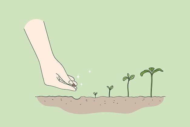 Landwirtschaftliches umwelt neues lebenskonzept Premium Vektoren