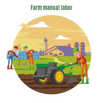 Landwirtschaftliches und landwirtschaftliches handarbeitskonzept