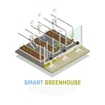 Landwirtschafts-automatisierungs-smart farming-zusammensetzung mit der automatischen ausrüstung und drohnen, die über drahtloses netzwerk mit text steuerbar sind