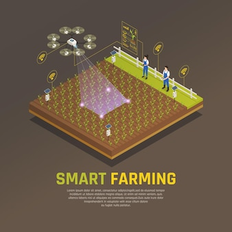 Landwirtschafts-automatisierungs-smart farming-zusammensetzung mit editierbarem text und ansicht der feldbearbeitung mit modernen technologien