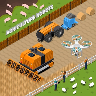 Landwirtschafts-roboter-isometrische zusammensetzung