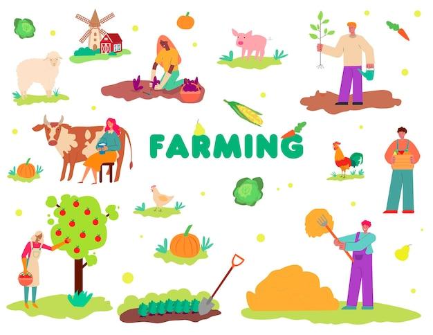 Landwirtschafts-set mit personen- und tiercharakterillustration