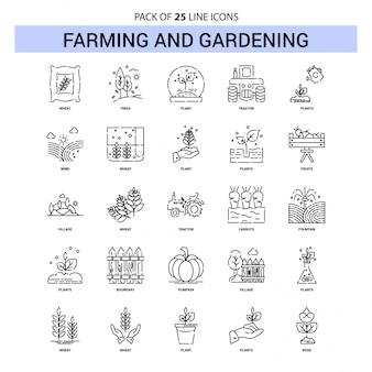 Landwirtschafts-und gartenarbeit-linie ikonen-satz - 25 gestrichelte entwurfs-art