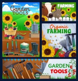 Landwirtschafts- und gartengeräte, banner. landwirtschaft, geflügel- und rinderfarm, rechen von landwirten, gartenschere und spaten, hack und sichel. obst, gemüse und kuh