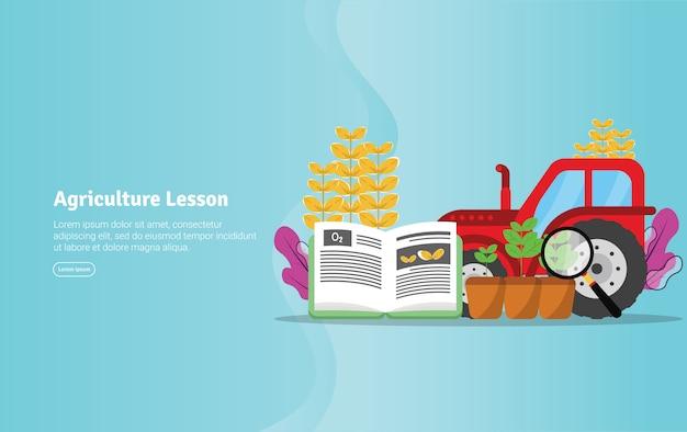 Landwirtschafts-unterrichts-konzept-pädagogische illustrations-fahne