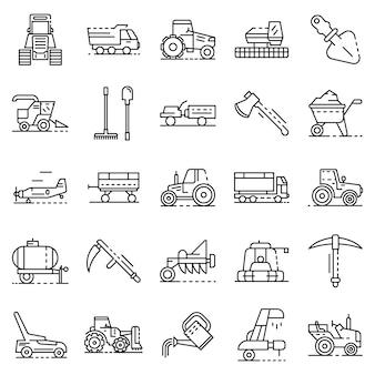Landwirtschaftsausrüstung-icon-set. umreißsatz landwirtschaftliche ausrüstungsvektorikonen