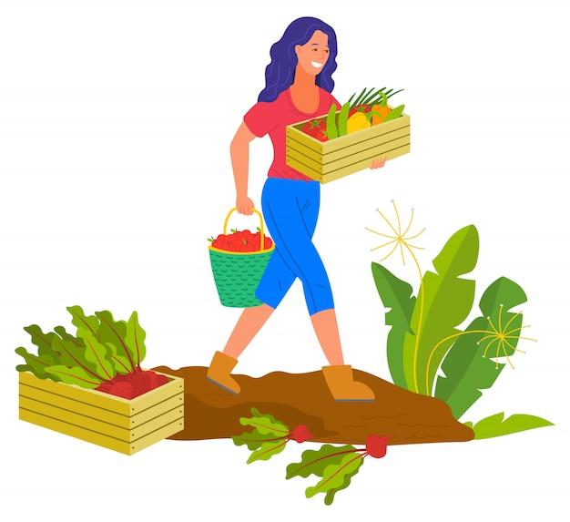 Landwirtschaftsfrauen-lächeln, landwirt plantation erntend