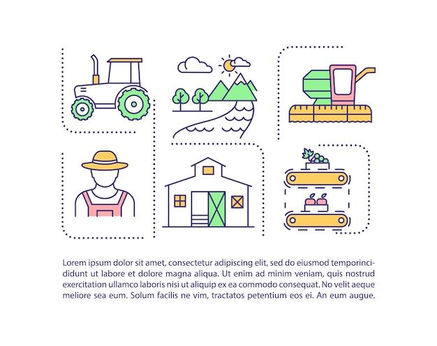 Landwirtschaftsindustrie-konzeptikone mit text