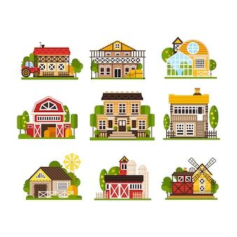 Landwirtschaftsindustrie und landschaftskonstruktionen illustrationen lokalisiert auf einem weißen hintergrund.