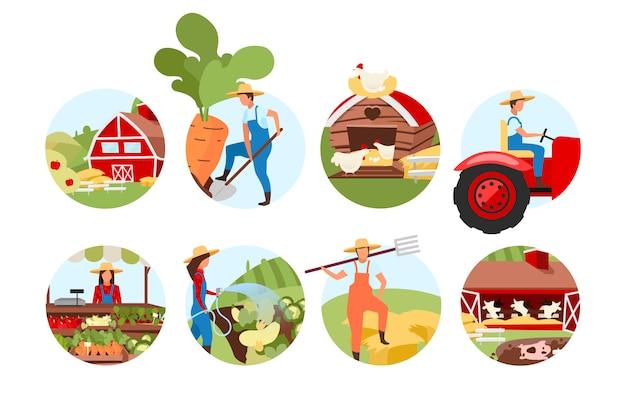 Landwirtschaftskonzeptikonen eingestellt. vieh- und rinderfarm. landwirtschaft aufkleber, cliparts pack