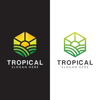 Landwirtschaftslogo, tropisches pflanzenlogo eingestellt mit strichgrafikstil