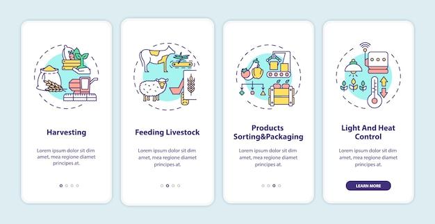 Landwirtschaftsmaschinen typen onboarding mobile app seite bildschirm mit konzepten.