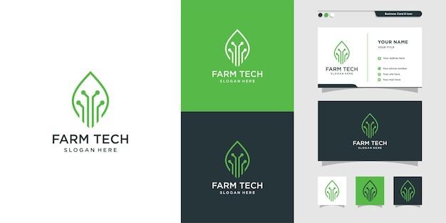 Landwirtschaftstechnologie-logo und visitenkartendesign premium-vektor