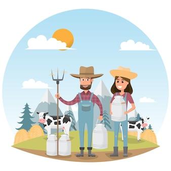 Landwirtzeichentrickfilm-figur mit milchkuh im organischen ländlichen bauernhof