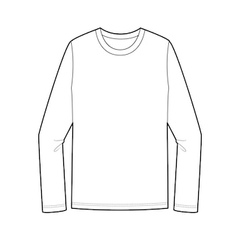 Langärmliges t-shirt mode flache technische zeichnung vorlage