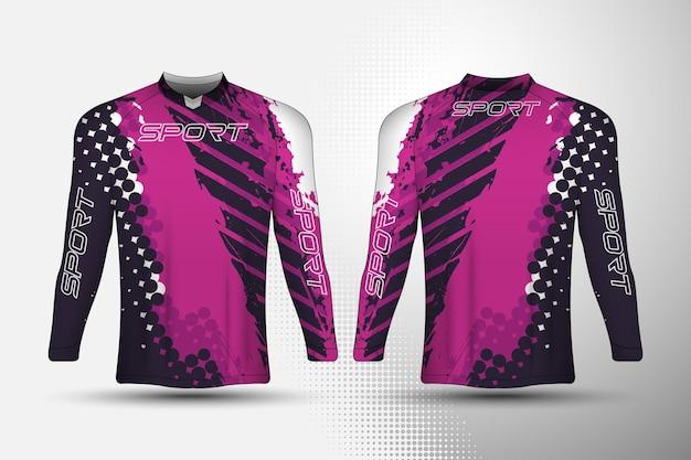 Langärmliges t-shirt sport-renntrikot mit abstraktem hintergrunddesign