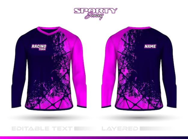 Langarm-sport-rennanzug, t-shirt-design vorne hinten. sportdesign für fußball-rennrad-gaming-trikot