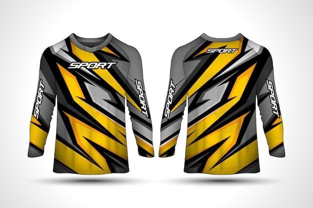 Langarm t-shirt design-vorlage, rennsport motorrad motorrad trikot