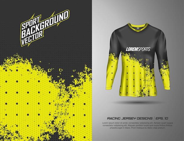 Langarm, t-shirt sportdesign für rennen, trikot, radsport, fußball, gaming