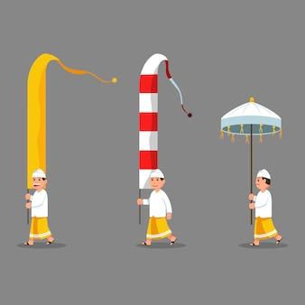 Lange flaggendekoration getragen von männern auf parade