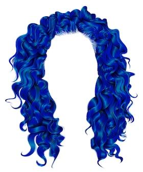 Lange lockige haare dunkelblaue farben stil. perücke.