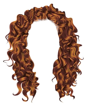Lange lockige haare rothaarige farben. perücke.