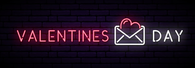 Lange neon-banner mit aufschrift valentinstag.