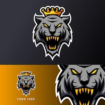 Lange reißzähne der schwarzen verärgerten tiger-königmaskottchensport-esport-logo-schablone