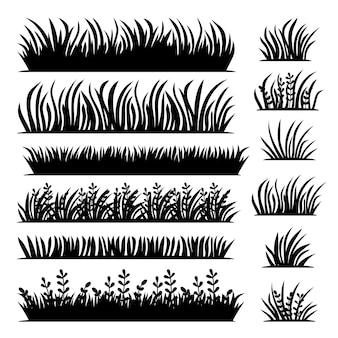 Lange und kurze vektorgrasbüschel in schwarzer farbe mit textur im flachen stil vektorillustration