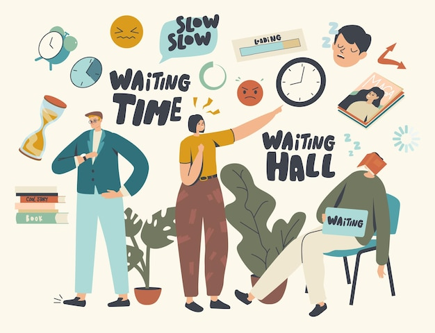 Lange wartezeit, langsames zeitkonzept. müde, gelangweilte männliche und weibliche charaktere warten zu lange in der bürohalle, am flughafen oder in der krankenhauslobby. männer und frauen schauen auf uhr, schlafen. cartoon-menschen-vektor-illustration