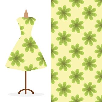 Langes damenkleid mit hellem, nahtlosem handgezeichnetem muster für textilpapierdruck