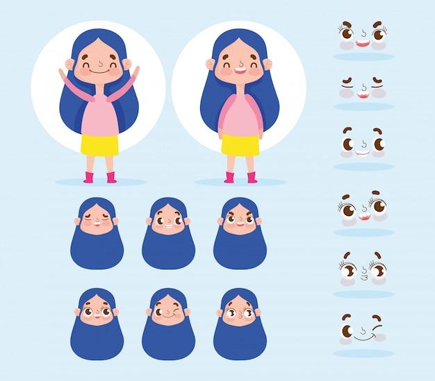 Langes haar des kleinen mädchens der zeichentrickfilm-figur-animation mit den ausdrücken stellt unterschiedliches gegenüber
