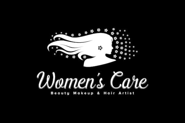 Langes haar-frauen-logo für schönheitssalon-spa mit blumenornament-inspirierendem design
