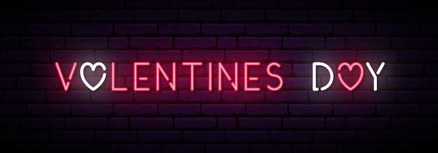 Langes neonbanner zum valentinstag