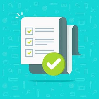 Langes papierblatt des umfrage- oder prüfungsformulars mit beantworteter quizcheckliste und flacher karikatur der erfolgsergebnisbewertung