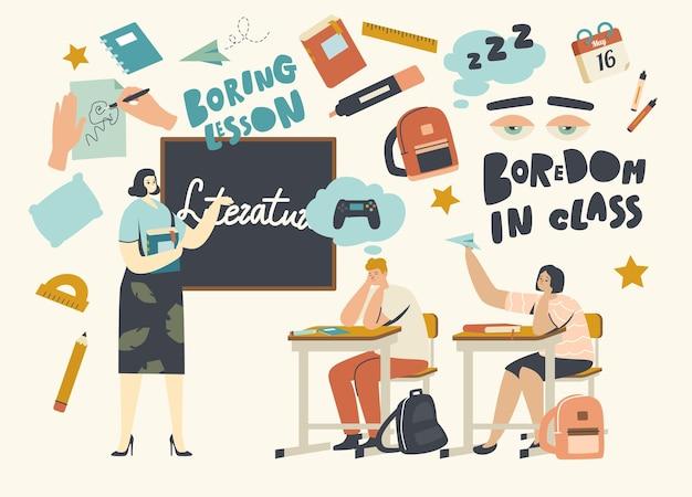 Langeweile im unterricht, bildungskonzept. kleine langweilige schulkinder, die am schreibtisch sitzen, mit lehrbuch vor der tafel mit lehrer, der die literaturstunde erklärt. lineare menschen-vektor-illustration