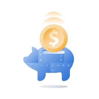 Langfristige anlagestrategie, sparschwein aus metall, geldbeschaffung, sammeln von münzen, altersvorsorge, vorsorgekonzept, finanzielle sicherheit