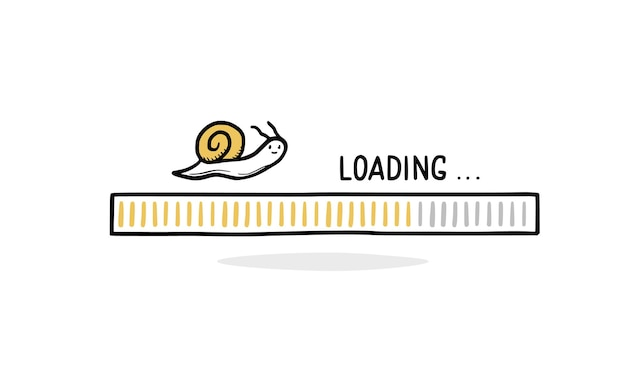 Langsames internet-ladebalken-doodle mit schnecke. konzept der langsamen laststange. handgezeichneter linienskizzenstil. isolierte vektor-illustration.