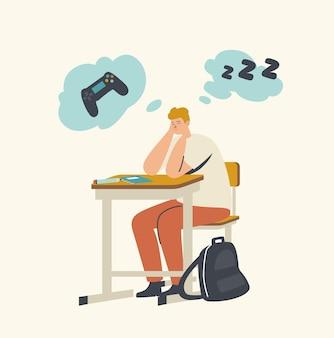 Langweiliger teenager, der mit geschlossenen augen am schreibtisch sitzt, einen vortrag über den unterricht hört und an computerspiel oder schlaf denkt