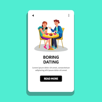 Langweiliges dating junges paar am tisch im cafe
