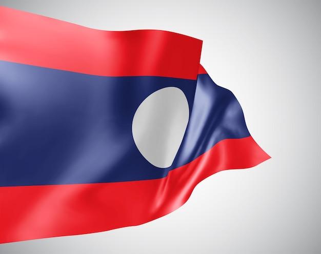 Laos, vektorflagge mit wellen und kurven im wind auf weißem hintergrund.