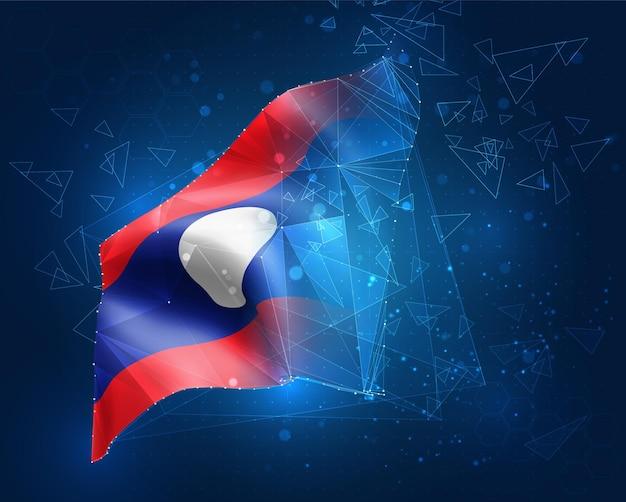 Laos, vektorflagge, virtuelles abstraktes 3d-objekt aus dreieckigen polygonen auf blauem hintergrund