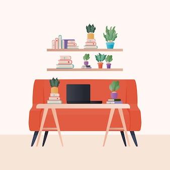 Laptop auf tisch vor orange couch und regale mit büchern und pflanzen design, innendekoration wohnhaus wohnung und wohn thema