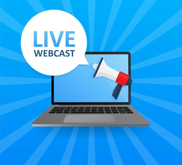 Laptop-bildschirm mit megaphon. live-webcastn-banner