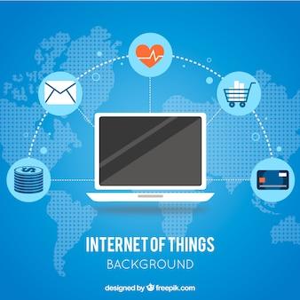Laptop blauen hintergrund mit dem internet verbunden