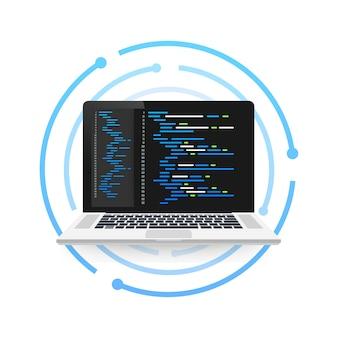 Laptop-codierungskonzept. webentwickler, programmierung. laptop-bildschirmcode. illustration.
