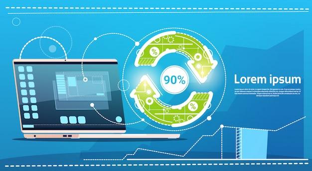 Laptop-computer-aktualisierungs-pfeil-finanzerfolgs-konzept