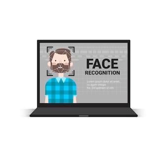 Laptop-computer, der benutzer-männliches gesichts-identifikations-technologie-zugangskontrollsystem-biometrisches anerkennungs-konzept scannt